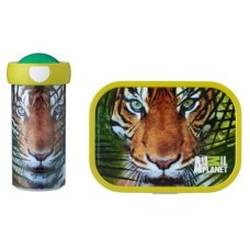 Schulbecher und Brotdose Animal Planet Tiger Green