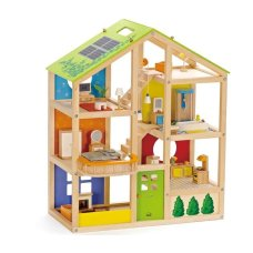 Hape 4 Seasons Puppenhaus + Möbel